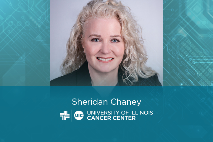 Sheridan Chaney photo with her name and the University of Illinois Cancer Center logo