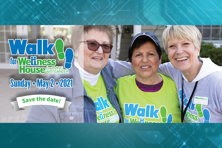 Walk for Wellness house logo and a photo of three female participants