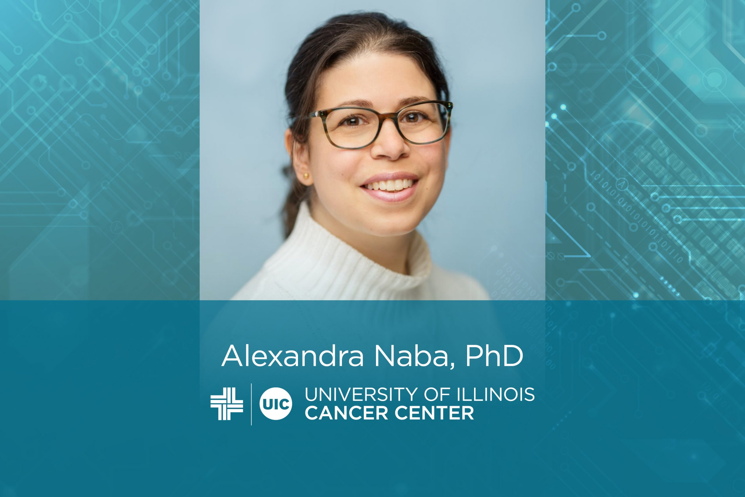 Alexandra Naba photo with her name and the University of Illinois Cancer Center logo
