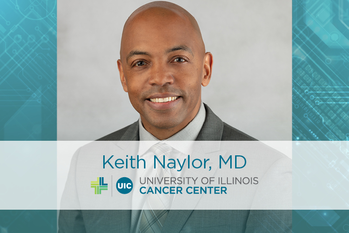 Keith Naylor photo with the University of Illinois Cancer Center logo