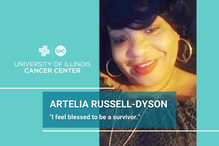 Artelia Russell-Dyson photo and the University of Illinois Cancer Center logo