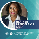 Heather Prendergast photo with her name and the cancer center logo