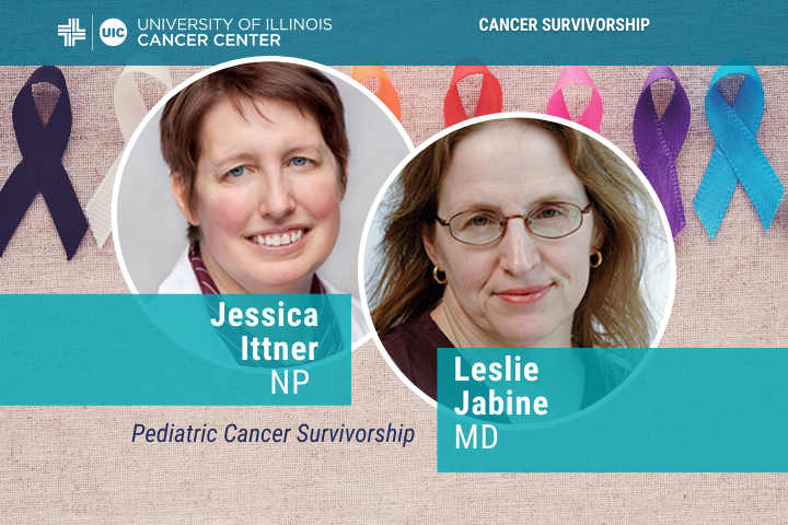 """Two speaker's photos and the title of their talk """"Pediatric Cancer Survivorship"""""""