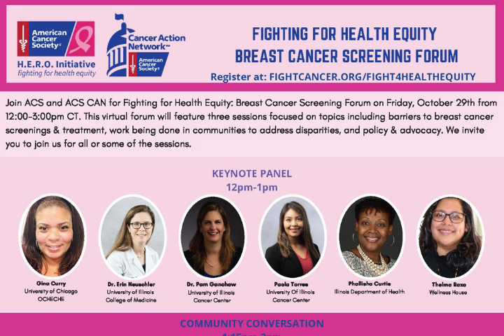 Fighting for Health Equity Breast Cancer Screening Forum header graphic and keynote speaker photos